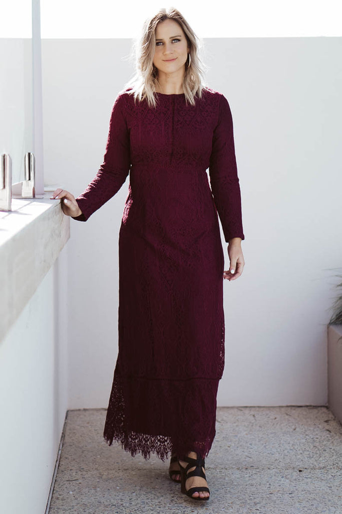 Charity Lace Dress - Burgundy