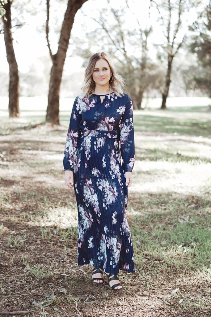 Celeste Belted Maxi Dress - Navy Floral
