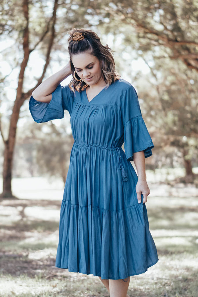 Bonnie Dress - Denim Blue
