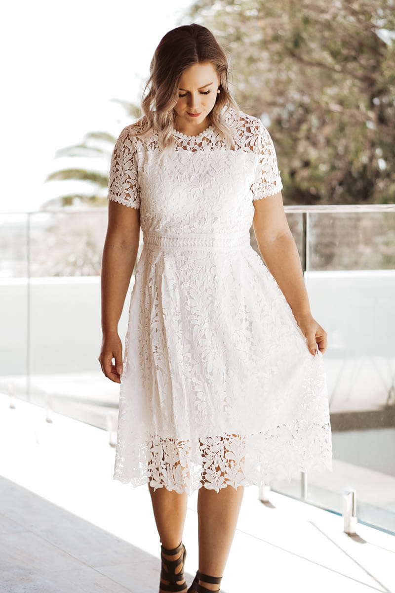 Lucy Lace Dress - White