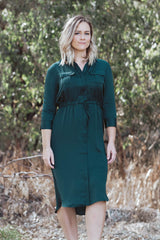 Maren Shirt Dress - Emerald