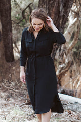 Maren Shirt Dress - Black