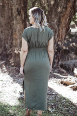 August Tie Dress - Khaki