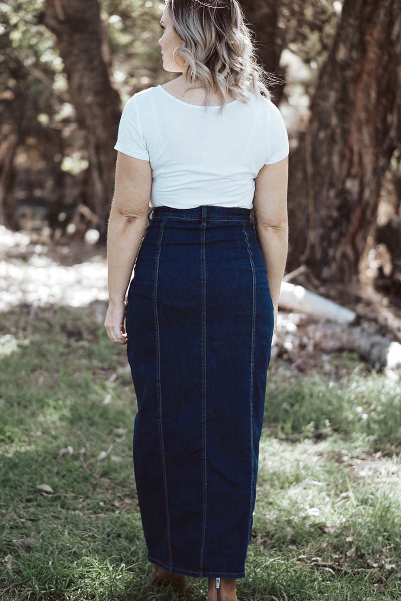 Mom High Waisted Skirt - Dark Denim