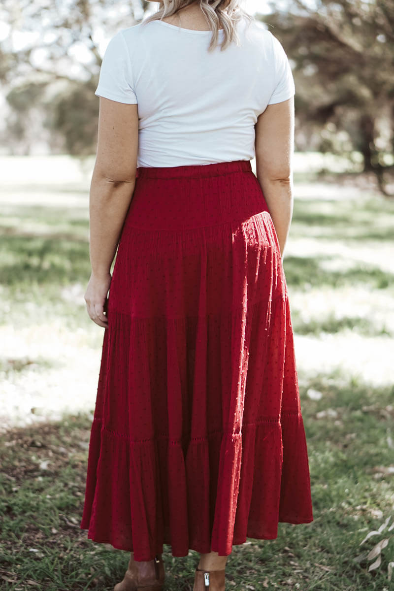 Nicolette Maxi Skirt - Scarlet Red