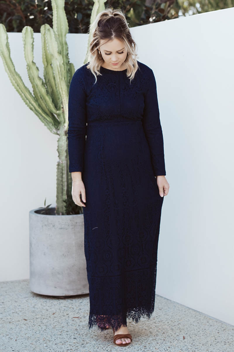 Charity Lace Dress - Navy