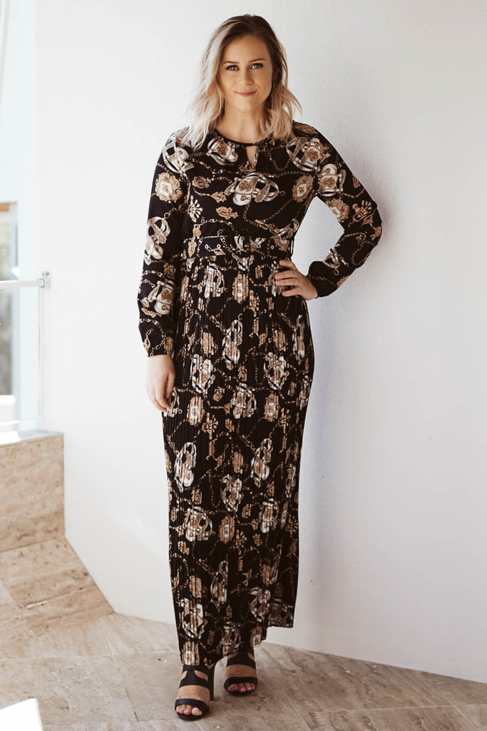 Celeste Belted Maxi Dress - Black