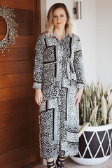 Mapel Long Sleeved Dress - Leopard Stripe Black
