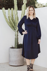 London Satin Dress - Navy