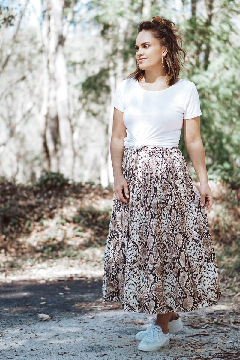 Lennon High Waisted Skirt - Brown