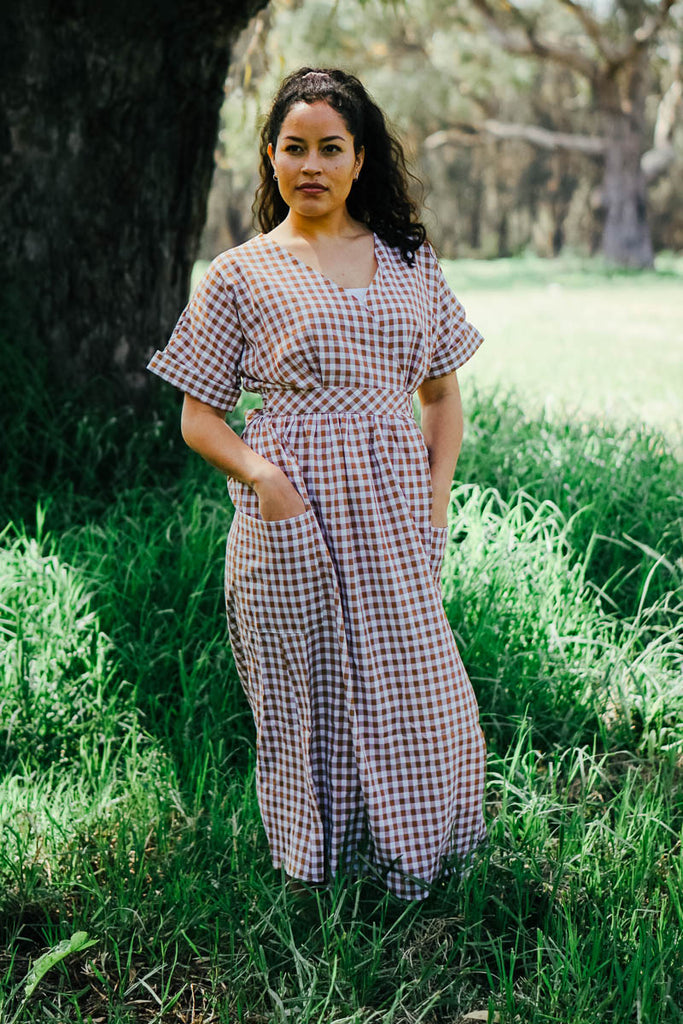 Betty Gingham Dress - Tan and White