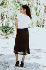 All Over Lace Skirt - Black
