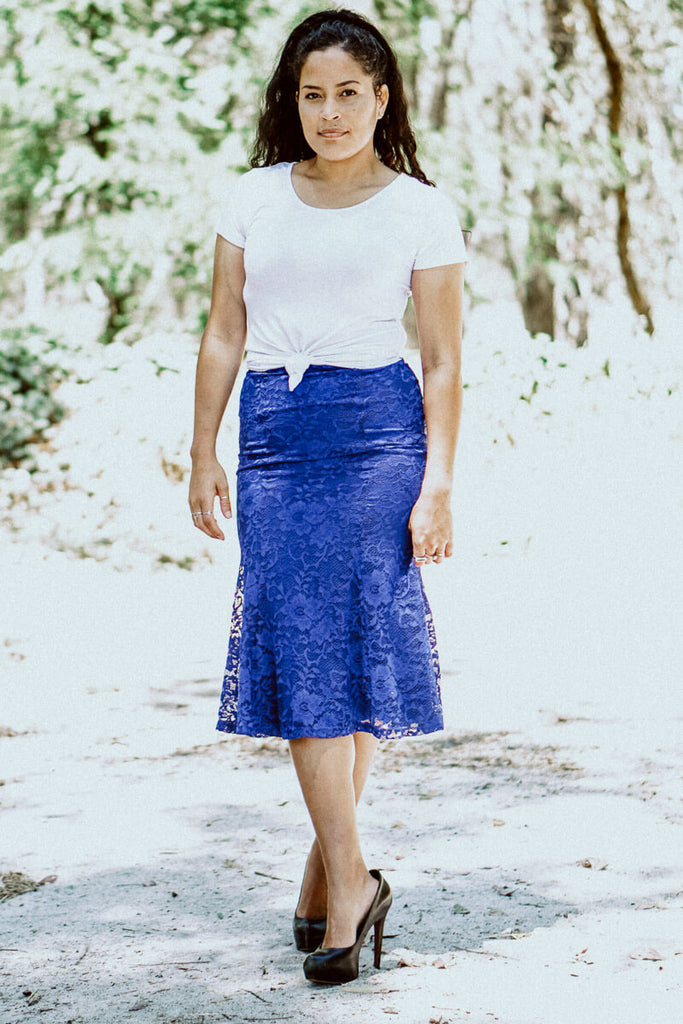 All Over Lace Skirt - Electric Blue