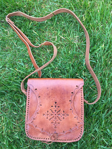Vintage Preloved Brown Leather Boho Saddle Bag