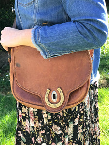 Vintage Preloved Brown Leather Horse Shoe Bag