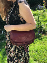 Vintage Preloved Leather Saddle Bag in Dark Maroon