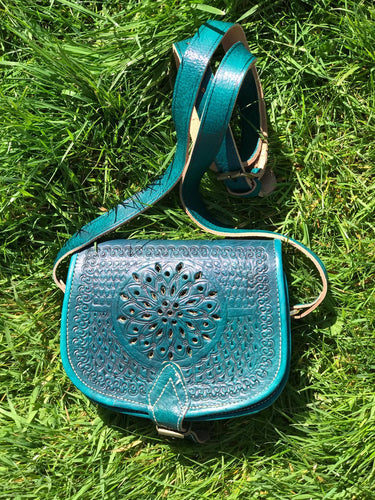 Vintage Moroccan Leather Shoulder Bag Green