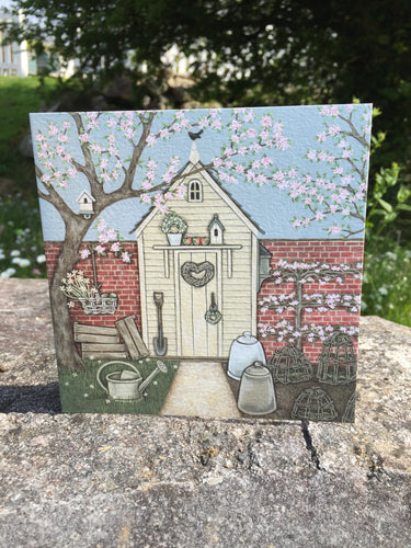 Potting Shed Greeting Card by Sally Swannell
