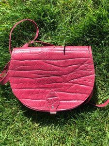 Vintage Preloved Leather Saddle Bag in Raspberry Pink