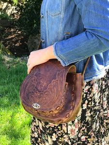 Vintage Preloved Brown Leather Western Saddle Bag