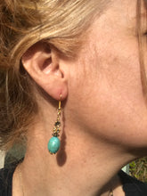 """The Bardot"" by Yvonne Tiernan. A boho turquoise & Swarovski bead drop earrings."