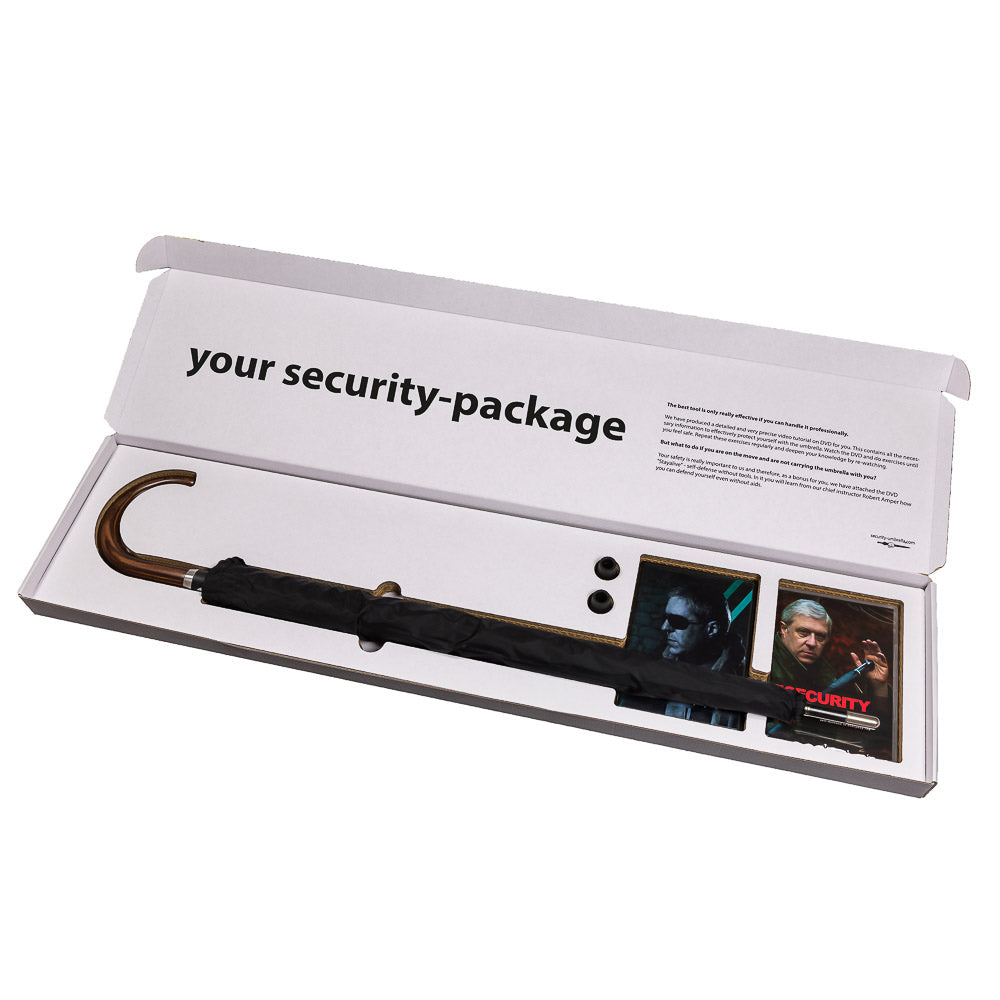 "Security-package No. 4: man umbrella ""City-Safe"" with round hook incl. two turtorials on DVD - security-umbrella"