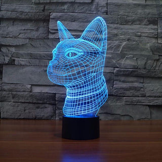 3D Led 7 Colors Changeable Cat Table lamp