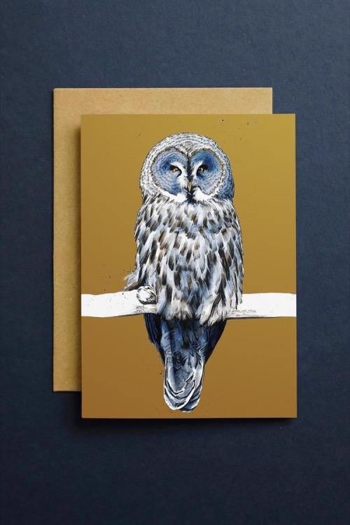 The Great Grey Owl Art Card - Some Ink Nice - Animal Art, Cards and Gifts