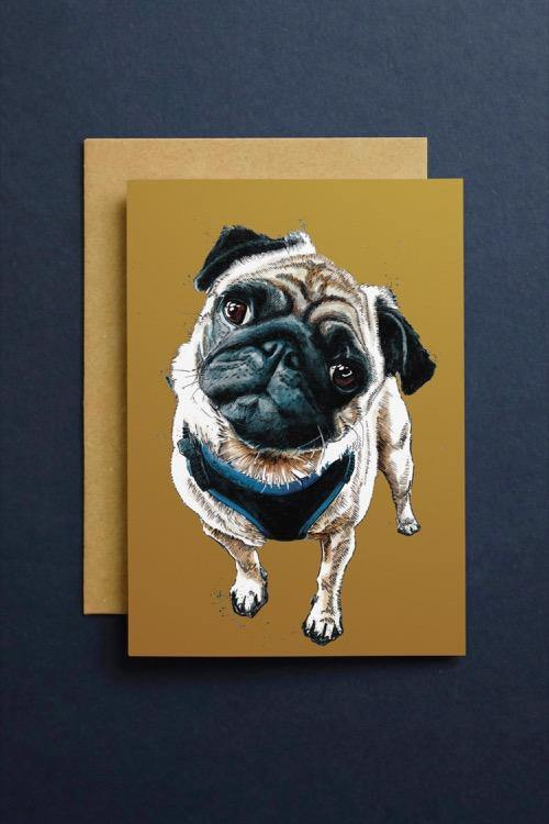 Teddy The Pug Art Card - Some Ink Nice - Animal Art, Cards and Gifts