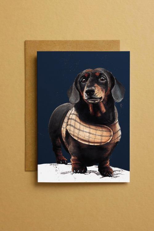 Dachshund Dog Art Card
