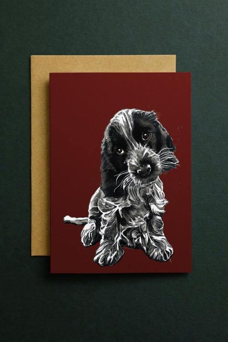 Rosie The Cocker Spaniel Art Card - Some Ink Nice - Animal Art, Cards and Gifts