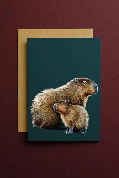 The Capybaras Art Card - Some Ink Nice - Animal Art, Cards and Gifts