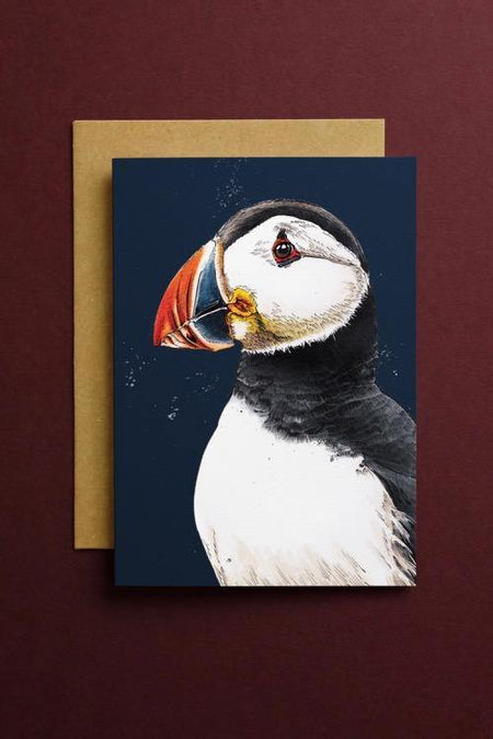 Clive The Puffin Art Card - Some Ink Nice - Animal Art, Cards and Gifts