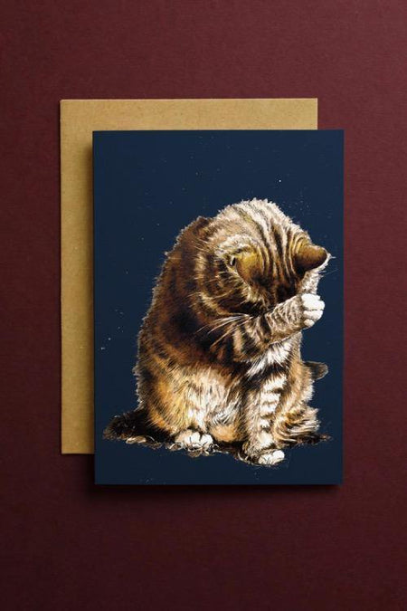 Small Fry The Cat Art Card - Some Ink Nice - Animal Art, Cards and Gifts