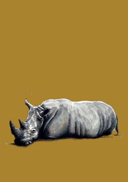 The Rhino A4 Art Print - Some Ink Nice - Animal Art, Cards and Gifts