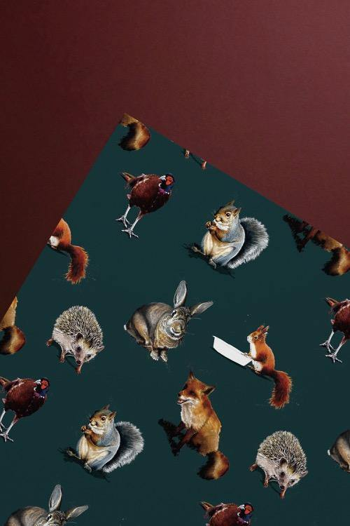 The Forest Gift Wrap Sheet - Some Ink Nice - Animal Art, Cards and Gifts