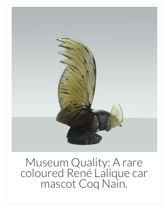 A rare coloured René Lalique car mascot Coq Nain