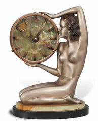 A Josef Lorenzl (1892-1950) Cold-Painted Art Deco Bronze and Onyx Timepiece with Deco Lady ~ Circa 1920.