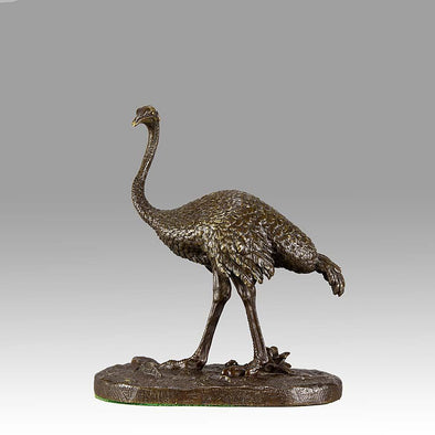 """Standing Ostrich"" by Alfred Barye"
