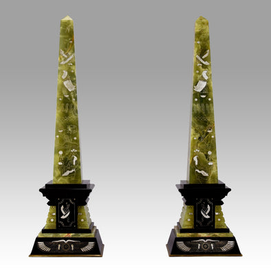 Marble & Onyx - Pair of Art Deco Obelisks - Hickmet Fine Arts
