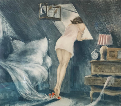 """The Attic Room"" or ""Sous le Toit"" by Louis Icart"