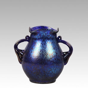Blue Papillion Vase by Johann Loetz