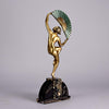 Bouraine Bronze Figure - Dancer with Fan - Hickmet Fine Arts