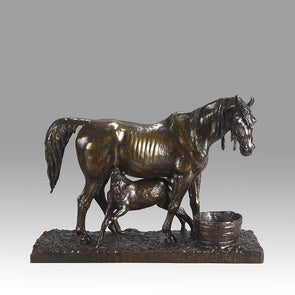 Jument et son Poulain Bronze by Christophe Fratin