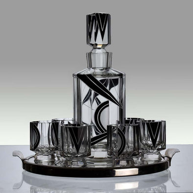 """Art Deco Decanter Set"" - Czech Glass"