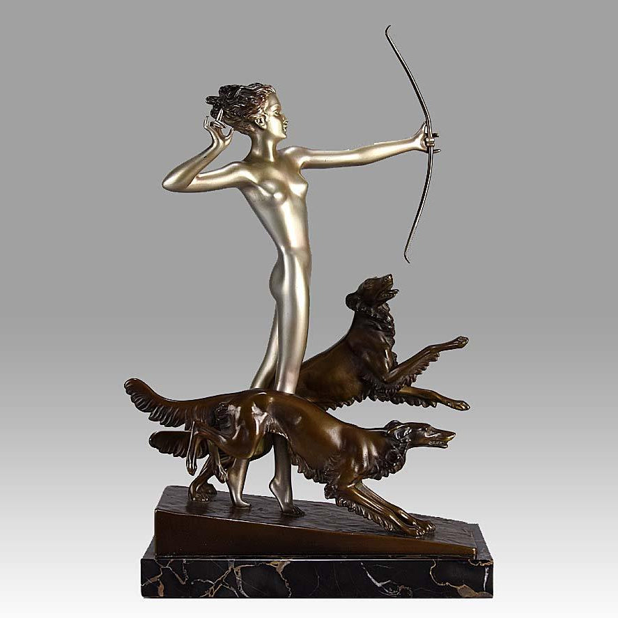 Signed LORENZL Art Deco Bronze Sculpture of Diana the Huntress with Dogs