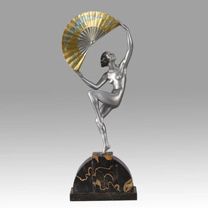 Marcel Bouraine - Art Deco Bronze Dancer - Fan Dancer - Hickmet Fine Arts