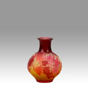Emile Gallé, Red Bulbous Vase