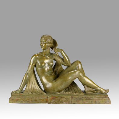 Joseph Descomps Art Deco Bronze - Seated Dancer - Hickmet Fine Arts