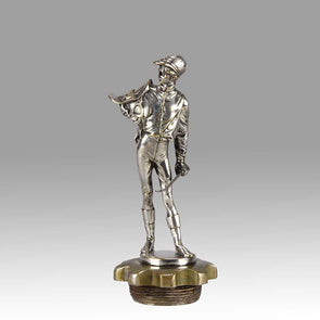 Car Mascot Lalouette Jockey Silvered Bronze